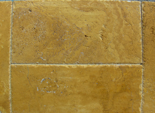 patinated and chiselled edge yellow travertine multisize sets