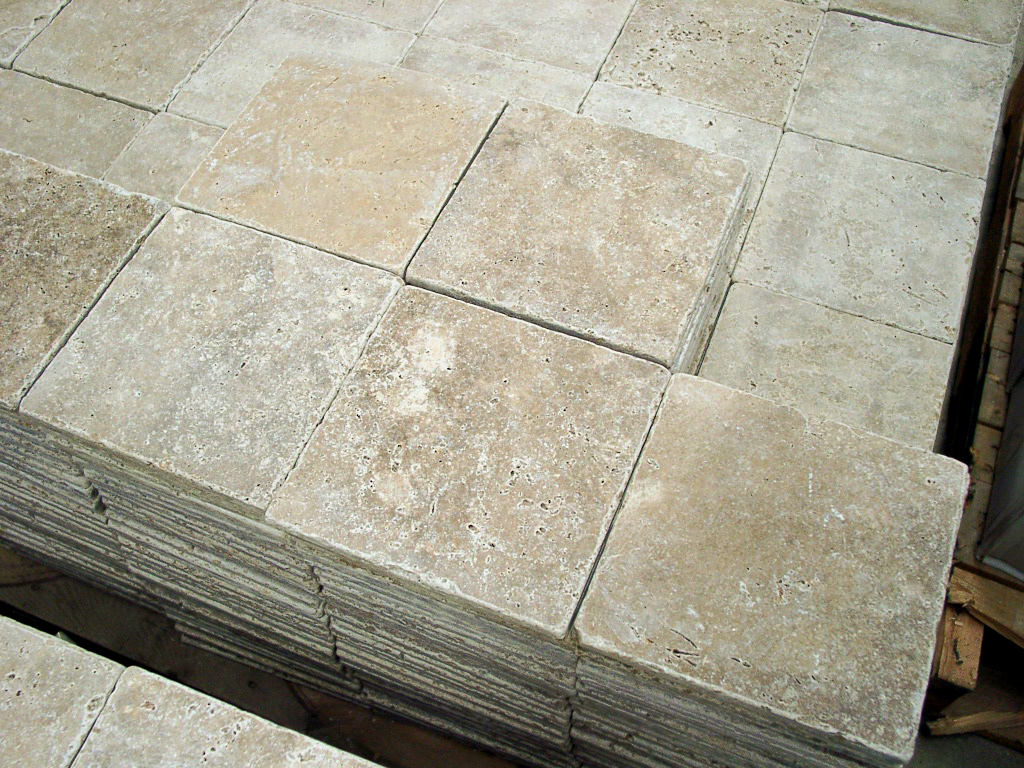 "12"" x 12"" tumbled travertine"